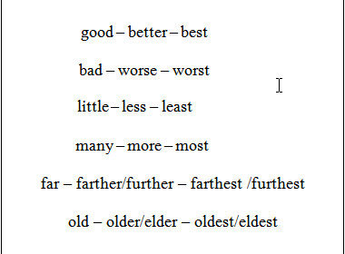 a few exceptions, as adjectives
